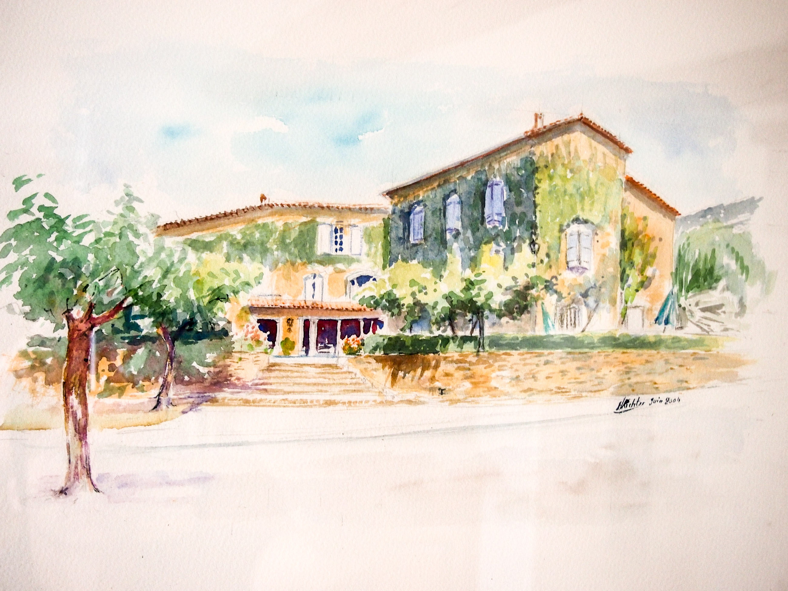 Peinture représentant l'hôtel restaurant du Pradinas